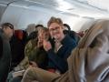 Busbarn på flyget mot Stockholm